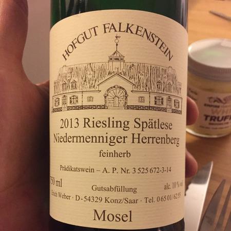 Hofgut Falkenstein Niedermenniger Herrenberg Spätlese Feinherb Riesling 2015