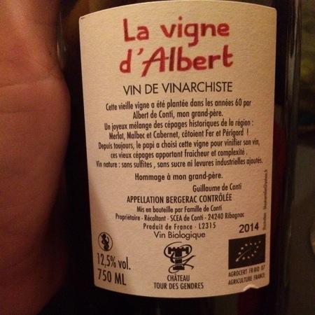 Château Tour des Gendres La Vigne d'Albert Vin de Vinarchiste Merlot Blend 2015