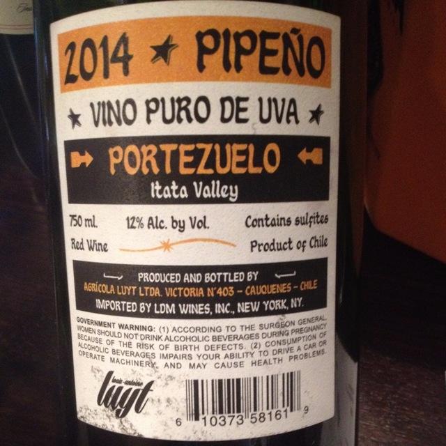 Pipeño Portezuelo País 2015 (1000ml)