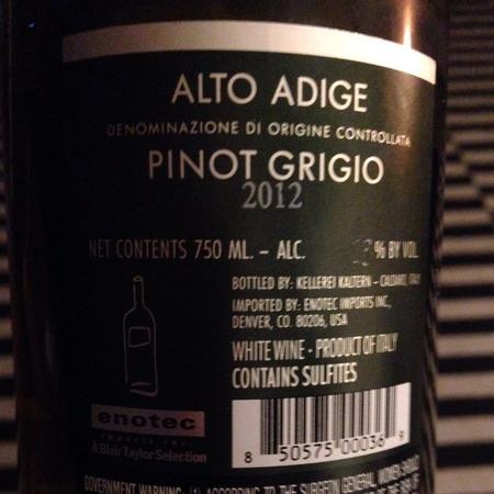 Kellerei Kaltern (Kaltern-Caldaro) Alto Adige Pinot Grigio 2016