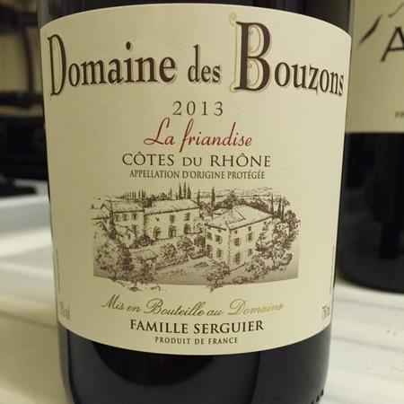 Domaine des Bouzons La Friandise Cotes Du Rhone Grenache Blend 2015