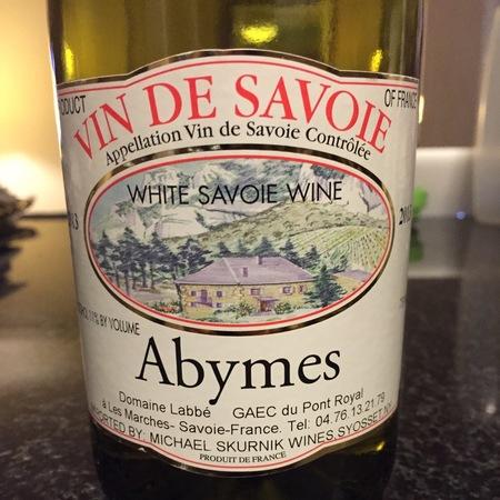 Domaine Labbé Vin de Savoie Abymes Jacquère 2016