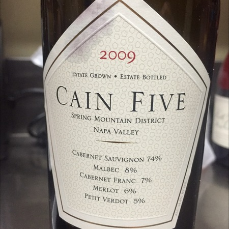 Cain Vineyard & Winery Cain Five Spring Mountain District Cabernet Sauvignon Blend  2012