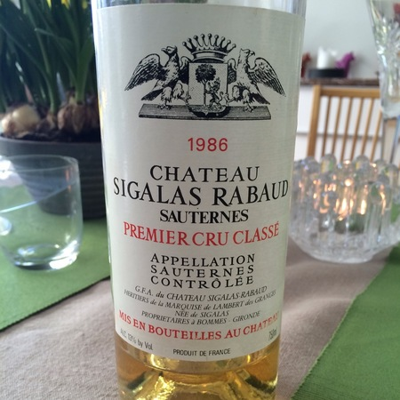 Château Sigalas Rabaud Sauternes Sémillon-Sauvignon Blanc Blend 1986