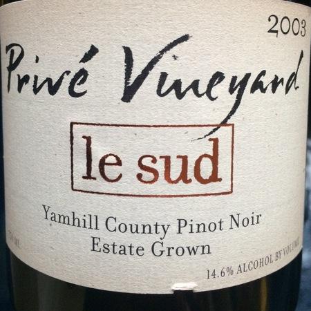 Privé Vineyard Le Sud Pinot Noir 2003