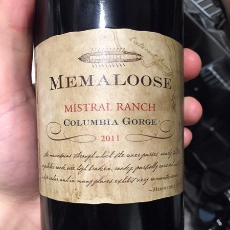 Memaloose Mistral Ranch Columbia Gorge Syrah Grenache NV