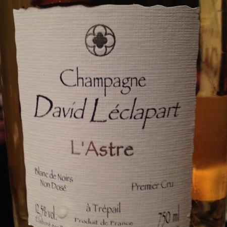David Léclapart Cuvée L'Astre Blanc de Noirs Non Dosé 1er Cru  2013