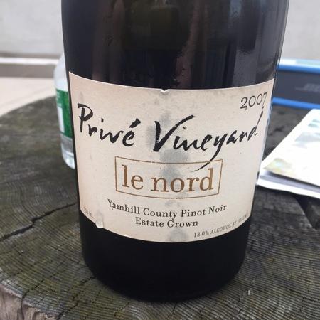 Privé Vineyard Le Nord Pinot Noir 2007