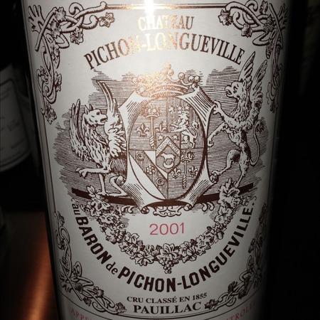Château Pichon-Longueville Baron de Pichon-Longueville Pauillac Red Bordeaux Blend 2001