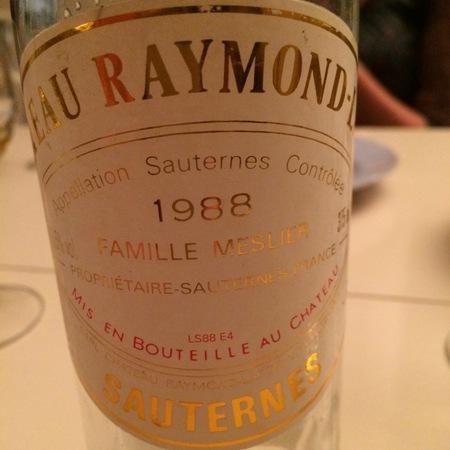 Château Raymond-Lafon Sauternes Sémillon-Sauvignon Blanc Blend 1988