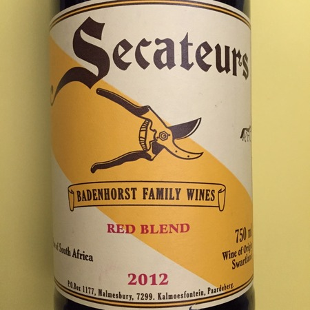 A.A. Badenhorst Family Wines Secateurs Red Rhône Blend 2015