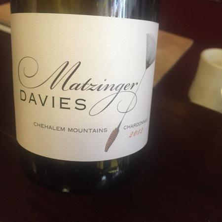 Matzinger Davies Chehalem Mountains Chardonnay 2013