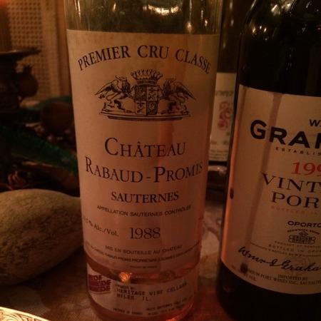 Château Rabaud-Promis Sauternes Sauvignon Blanc Sémillon 1988 (375ml)