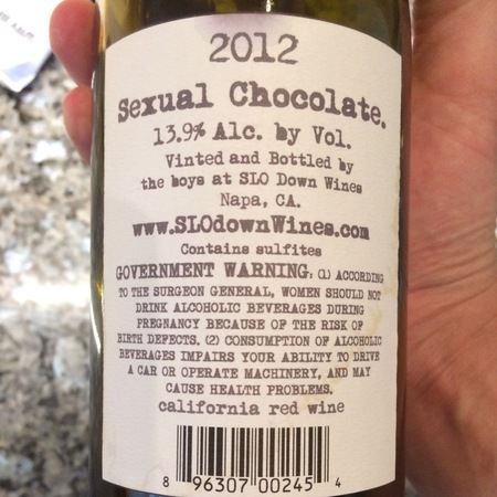 SLO Down Wines Sexual Chocolate California Red Blend NV