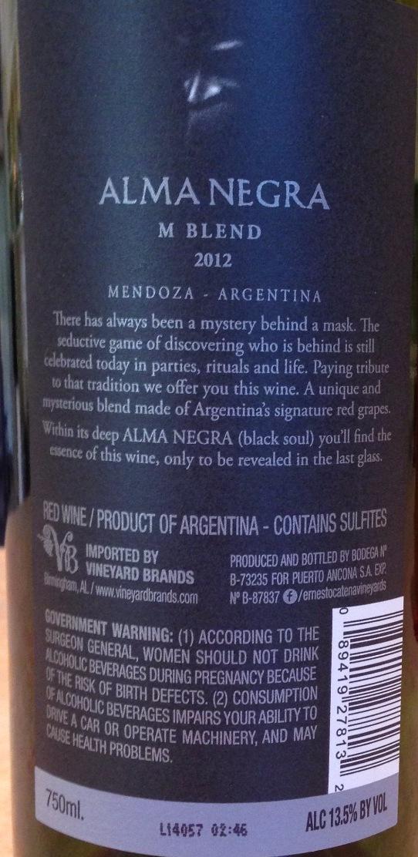 M Blend Mendoza Red Blend 2012