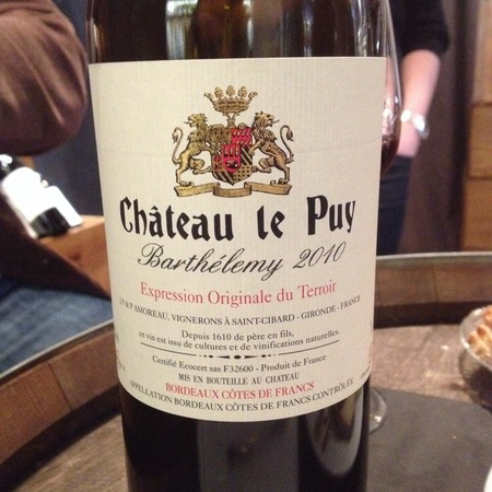 Château Le Puy Barthélemy Expression Originale de Terroir Côtes de Francs Red Bordeaux Blend 2010