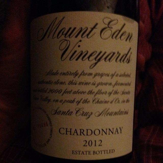 Estate Bottled Santa Cruz Mountains Chardonnay 2012