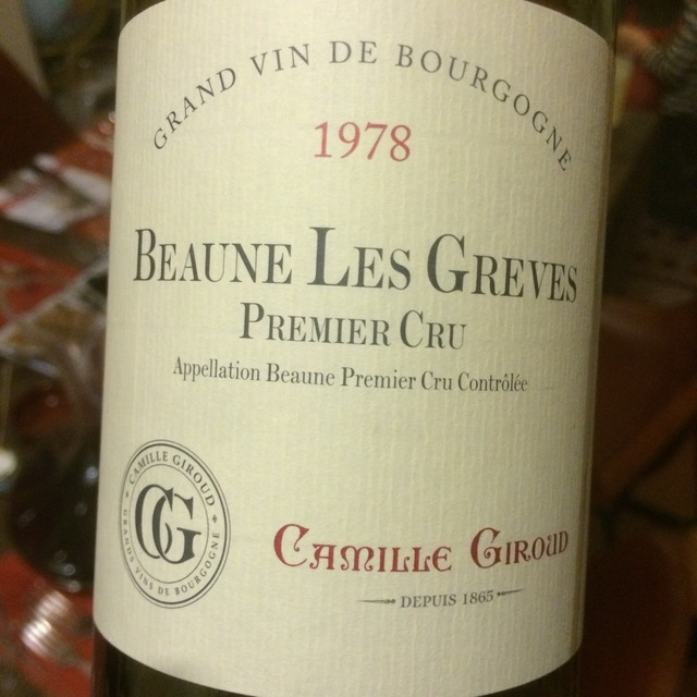 Les Greves Beaune 1er Cru Pinot Noir 1978