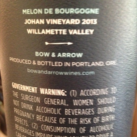 Bow and Arrow Johan Vineyard 'Melon' Melon de Bourgogne 2016