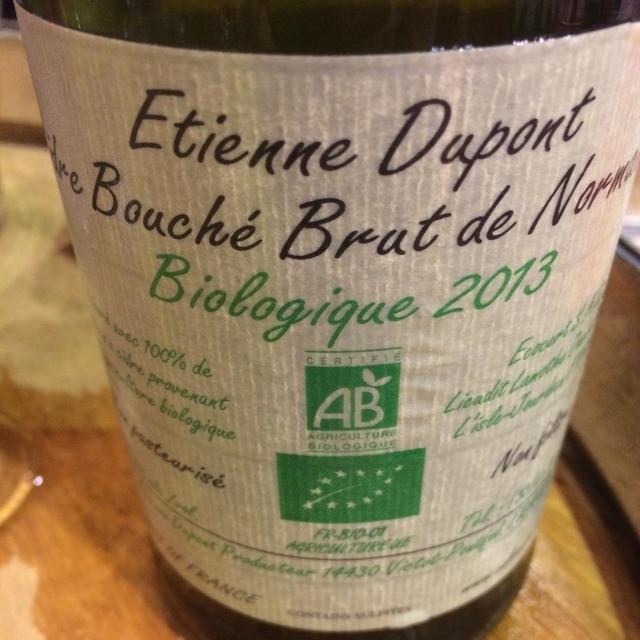 Organic Etienne Dupont Cidre Bouché Brut de Normandie Apple 2013