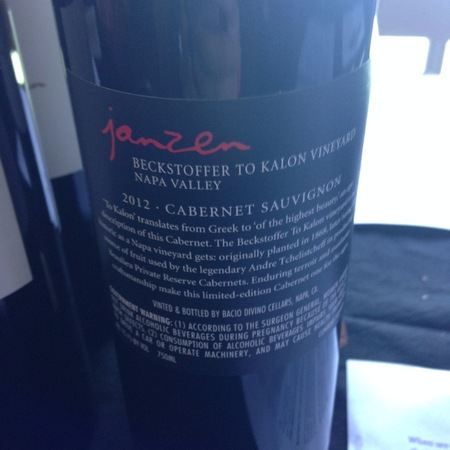 Janzen Vineyards Beckstoffer To-Kalon Vineyard Cabernet Sauvignon 2012