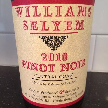 Williams Selyem Central Coast Pinot Noir 2010