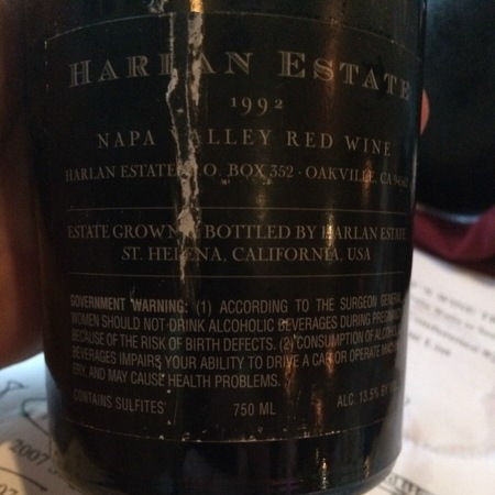 Harlan Estate Napa Valley Proprietary Red Petit Verdot Blend 1992