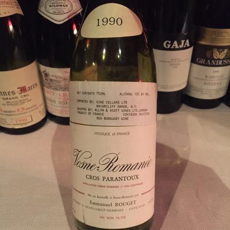 Emmanuel Rouget Cros Parantoux Vosne-Romanée 1er Cru Pinot Noir 1990
