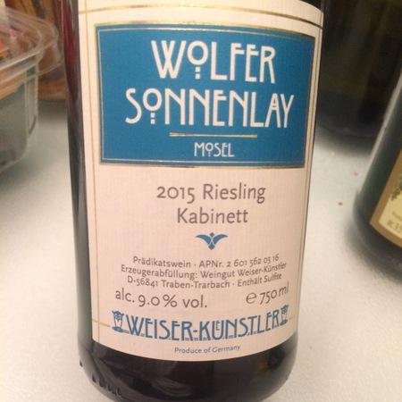 Weiser-Künstler Wolfer Sonnenlay Kabinett Riesling 2016