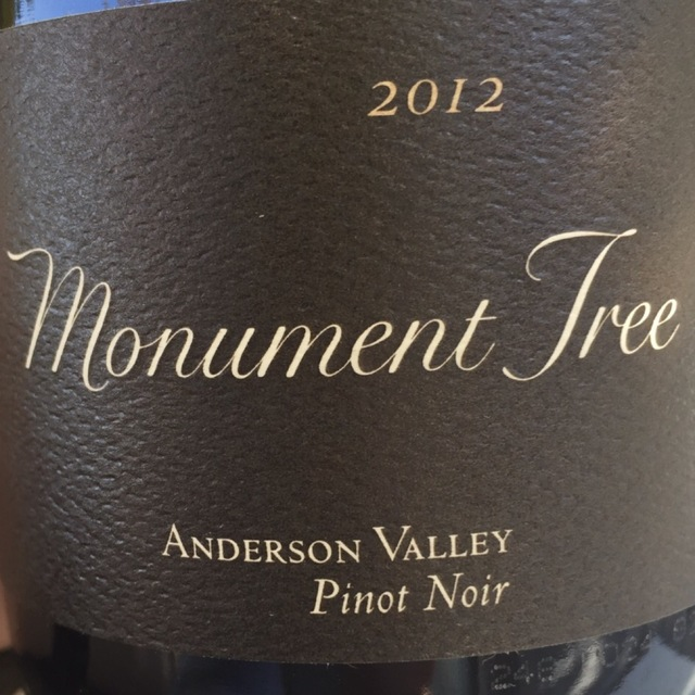 Monument Tree Anderson Valley Pinot Noir 2012