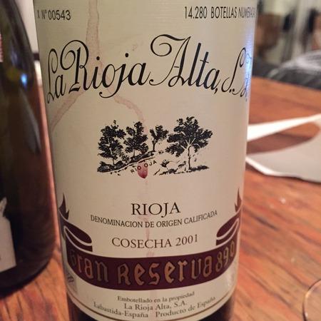 La Rioja Alta Gran Reserva 890 Rioja Tempranillo Blend 2001