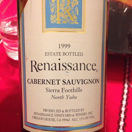 Renaissance Vineyard & Winery Estate Bottled North Yuba Cabernet Sauvignon 1999
