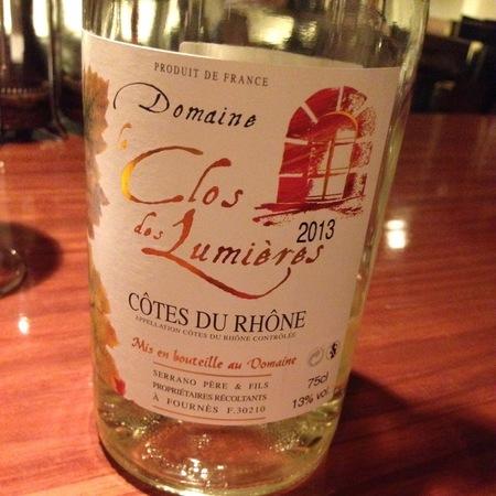 Domaine Le Clos Des Lumières Côtes du Rhône White Rhone Blend 2016