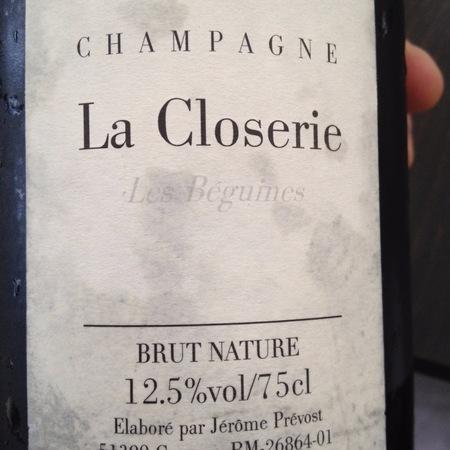 Jérôme Prévost La Closerie Les Beguines Brut Nature Champagne Pinot Meunier NV