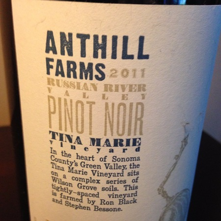 Anthill Farms Tina Marie Vineyard Pinot Noir 2011