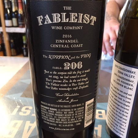 The Fableist   Fable: 206 The Scorpion and the Frog Central Coast Zinfandel 2016