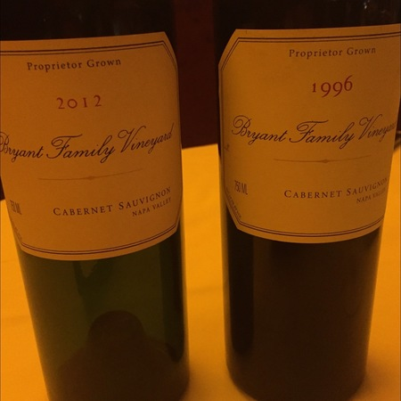 Bryant Family Vineyard Proprietor Grown Napa Valley Cabernet Sauvignon 1996