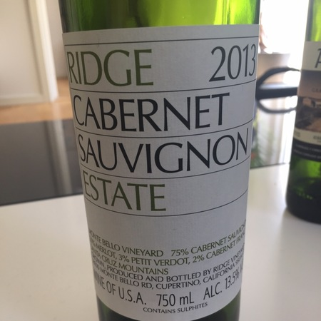 Ridge Vineyards Estate Santa Cruz Mountains Cabernet Sauvignon Blend 2014
