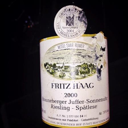 Fritz Haag Brauneberger Juffer Sonnenuhr Spätlese Riesling 2000