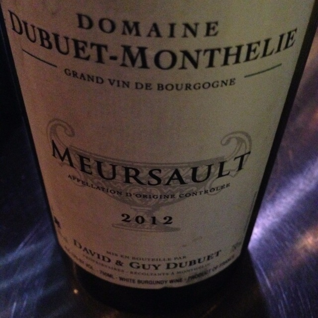 Domaine Dubuet-Monthelie Meursault Chardonnay 2012
