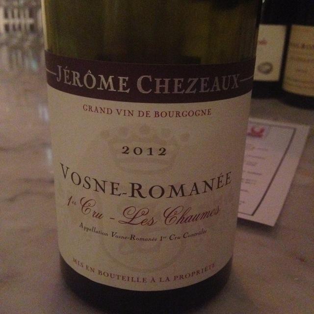 Les Chaumes Vosne-Romanée 1er Cru Pinot Noir 2012