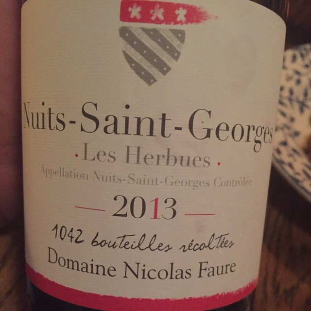 Les Herbues Nuits St. Georges Pinot Noir 2013