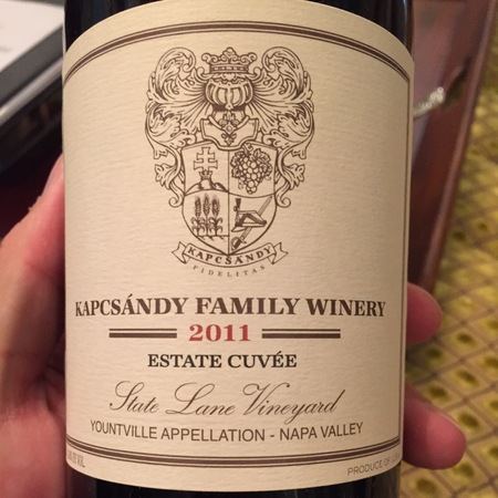 Kapcsándy Family Winery Estate Cuvée State Lane Vineyard Merlot Blend 2011