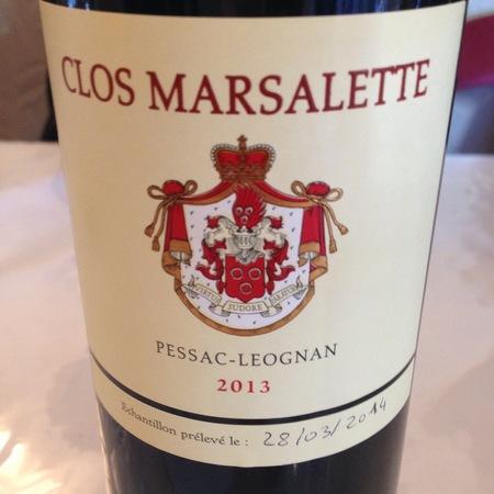 Clos Marsalette Pessac-Léognan Red Bordeaux Blend 2013