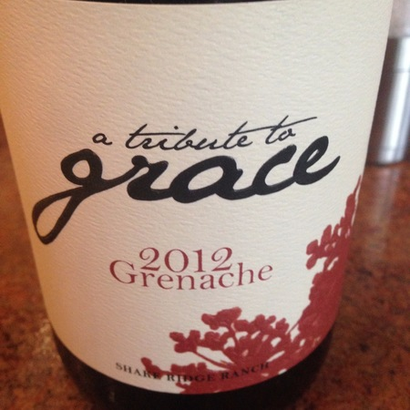 A Tribute to Grace Wines Shake Ridge Ranch Grenache 2012
