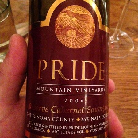 Pride Mountain Vineyards Reserve Napa & Sonoma County Cabernet Sauvignon 2006