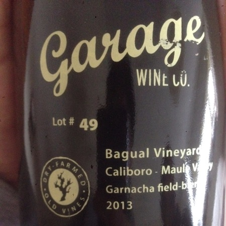 Garage Wine Co. Lot #49 Bagual Vineyard Maule Valley Garnacha 2013