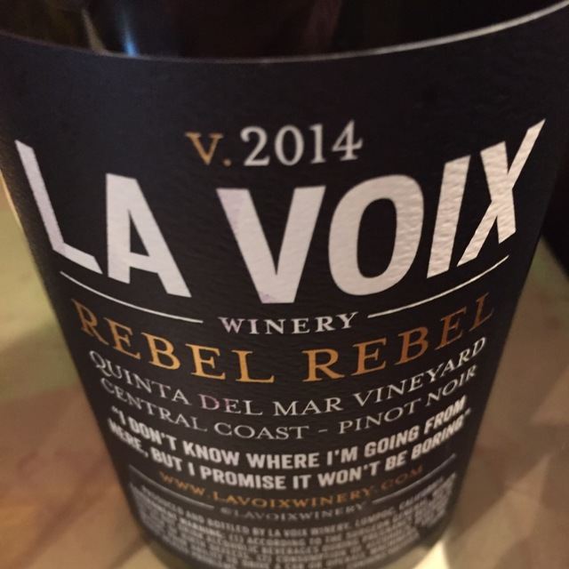 Rebel Rebel Quinta del Mar Vineyard Pinot Noir  2014