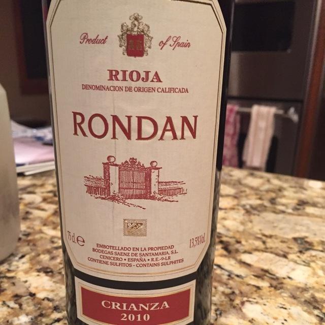 Rondan Crianza Rioja Tempranillo 2012