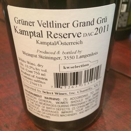 Weingut Steininger Reserve Kamptal Grand Grü Grüner Veltliner 2015